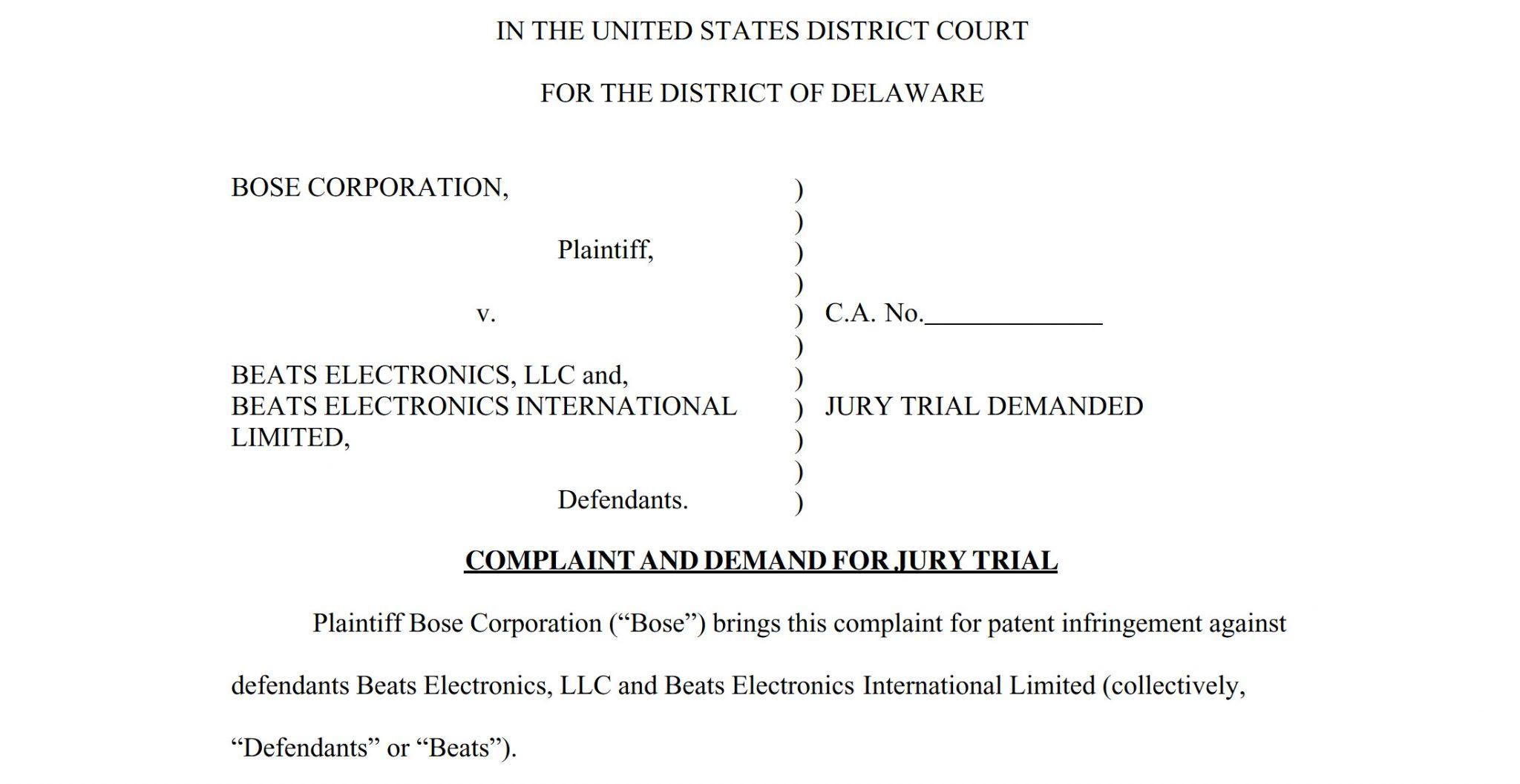 Bose Patent Lawsuit