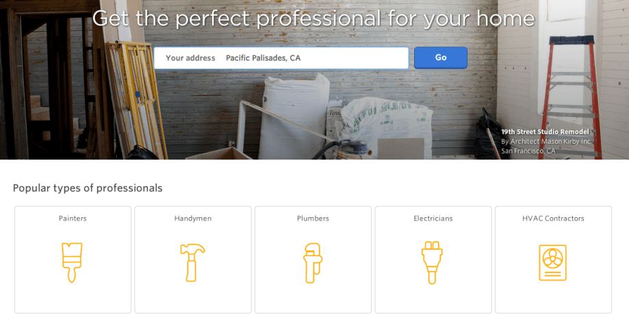 Porch.com, Pro.com's main competitor, offers similar services to users.