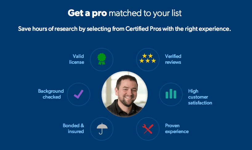 Pro.com matches users with professionals in their area that can help with their home improvement projects.