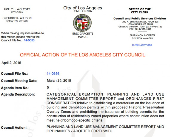 Los Angeles City Council Ordinance