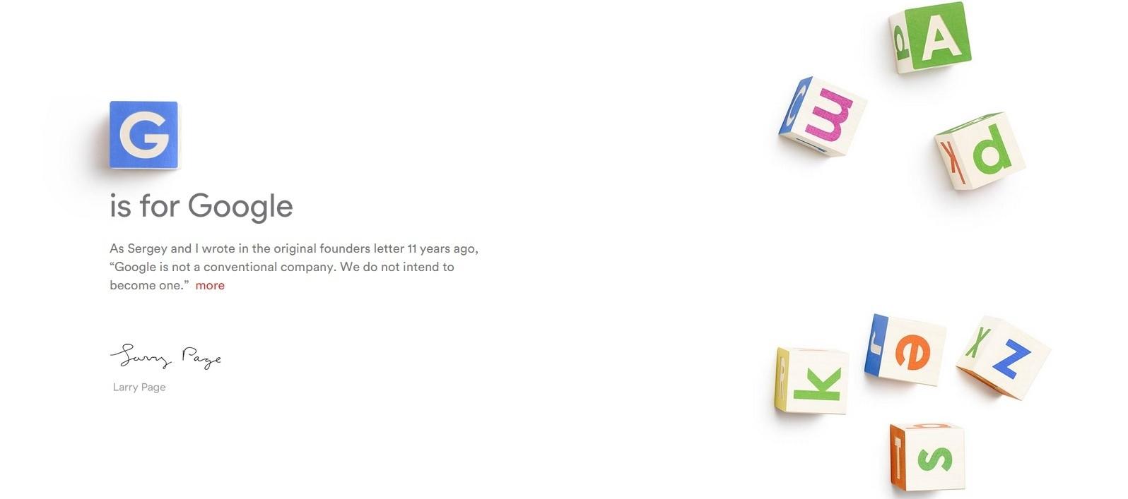 Google Alphabet Company Restructuring